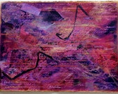 Purple Name Collage- Original Mixed Media- Acrylic on Paper- Magenta, Plum, Gold- 22x30- Large Wall Art