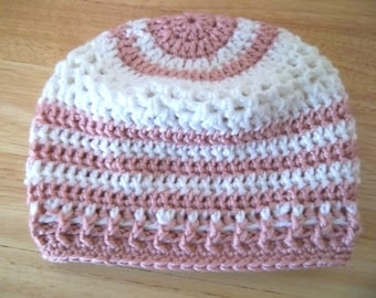 Hat - Crochet Hat for Little Girls - White and Pink Acrylic Yarn - Fashionable for Spring and Summer