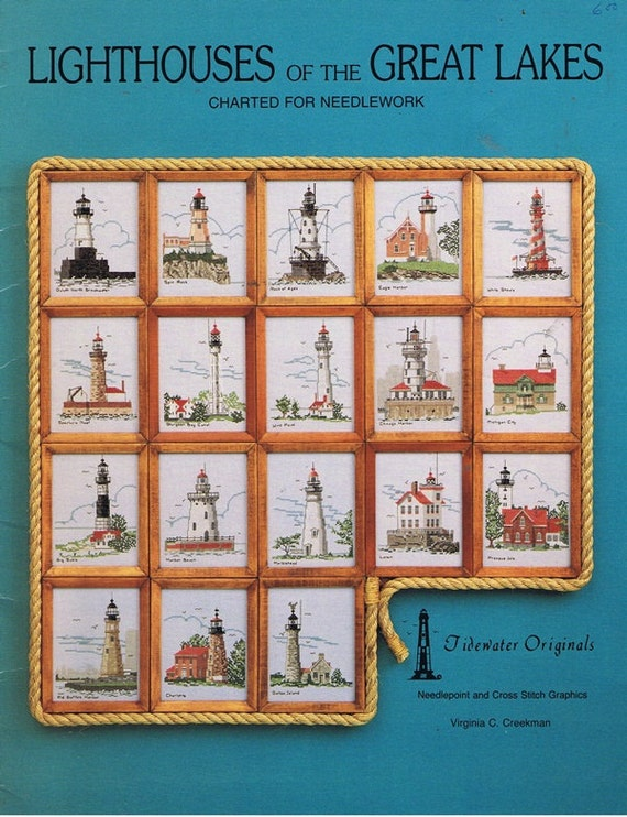 Lighthouses of the Great Lakes Cross Stitch Embroidery Craft Pattern Leaflet