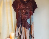 Hand Dyed Tunic Tattered Jersey Dress