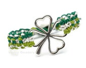 Shamrock  Bracelet,  Four Leaf Clover, St Patricks Day, Irish Bracelet, St paddys Day, Shamrock Gifts - HempBeadery