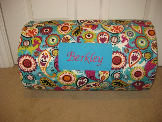 Last One MONOGRAMMED Children THICK COMFY Nap Mat PreSchool Turq Multi Paisley with Attached Cuddle Double Sided Minky Blkt and Plw