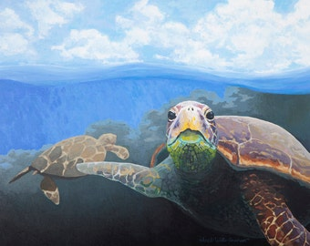 Sea Turtle Painting - Print