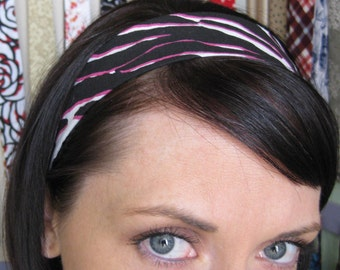 Black Pink and White Zebra Print Stay Put Headband