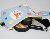 Zippered Bag - Makeup, cosmetic,  iphone, ipod, gadgets - retro pattern, polka dots, - Gift, teen, girl