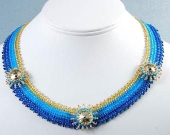 Blue Gold Swarovski Necklace, Sunshine  Beadweaving Necklace