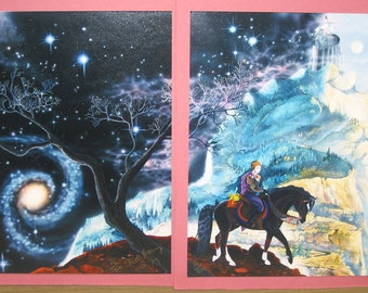 Quest, Beth Avary Fantasy art, 1989 limited ed lithograph pair, Signed