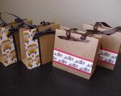 School Teacher Bus Driver Mini Brown Gift Bag - Kraft Bag - Treat Bag - Favor Bag (set of 4)