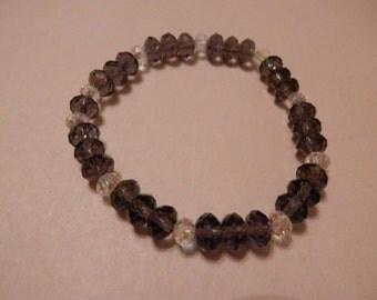 Purple and Clear Swarovski Crystal Stretch Bracelet