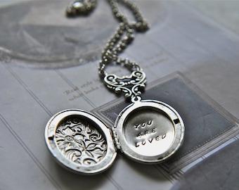Personalized Locket, Hand Stamped Locket, Floral Locket Necklace, Message Locket, Hand Stamped Keepsake