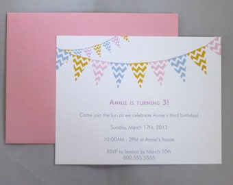 Chevron Flags A2 Flat Note Birthday Party Invitations (Set of 10)