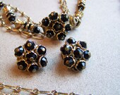 CLEARANCE-Vintage 1960s Costume Jewelry Black and Gold Glass Beaded by PearlCraft Triple Strand Necklace-Earring Set
