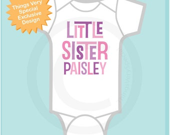 Personalized Little Sister Onesie or Tee Shirt (10262011b)