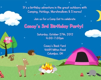 Woodland Backyard Birthday Invitation