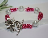 Chainmaille Bracelet Toggle Clasp Silver Plated Pink Fuchsia Aluminum Jump Rings White Swarovski Pearl Feminine For Her Chainmail