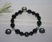 Hematite Stretch Bracelet-Gemstone Stretch Bracelet-Charm Bracelet-Dangles-Swarovski Crystal Cubes-Grounding Stone-Black Stretch Bracelet