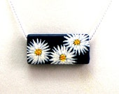 White Daisies,Chrysanthemum / White Mums Necklace, Painted Flower Necklace, Original Design, Original Painting