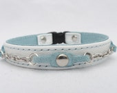 Leather Cat Collar with safety Clasp with silver Chain accents by Ruggit Collars