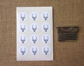 Deer with Antlers Stickers One Inch Round Seals