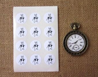 Bunny Rabbit Stickers One Inch Round Seals