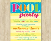 The Neon Pool Party Invitation | Water Park Party Invitation | Swim Party Invitation | End of School Party Invitation | Birthday Party