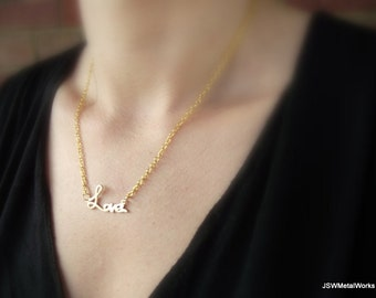 Gold Love Pendant, Gold Necklace, Valentine's Day Gift