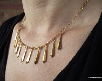 Brass and Gold Fringe Necklace, Gold Necklace, Brass Necklace