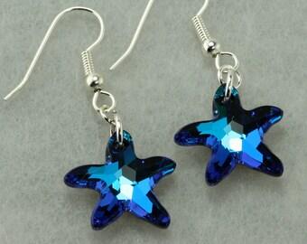 Swarovski Crystal Bright Blue Starfish Earrings