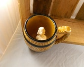 Vintage Souvenir Barrel Mug with Naughty Nan Figurine, SALE, Nude Inside Hands Folded Over Chest Nothing Shows: Naughty Nannette