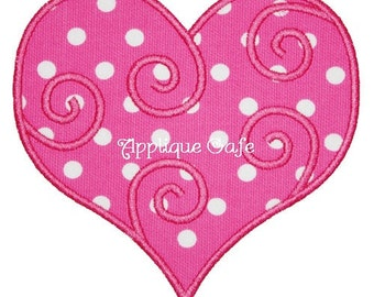 253 Swirly Heart  Machine Embroidery Applique Design