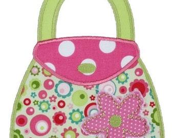 308 Flower Purse Machine Embroidery Applique Design