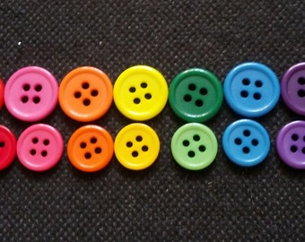 100 pcs mix colors 4 holes buttons mix sizes