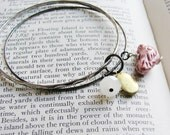 Beaded Charm Bracelet Ceramic Bird Bead Silver Bangles Brass Locket Upcycled Vintage Bracelet Nature Garden Inspired