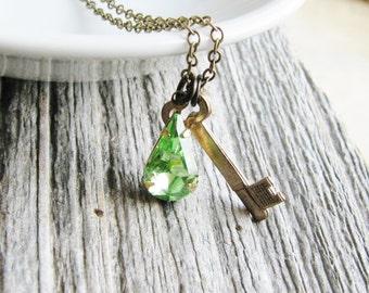 Jewel Charm Necklace Vintage Style Cut Glass Jewel Teardrop August Birthday Brass Key Peridot Green Glass Gem Minimalist Bridal Jewelry