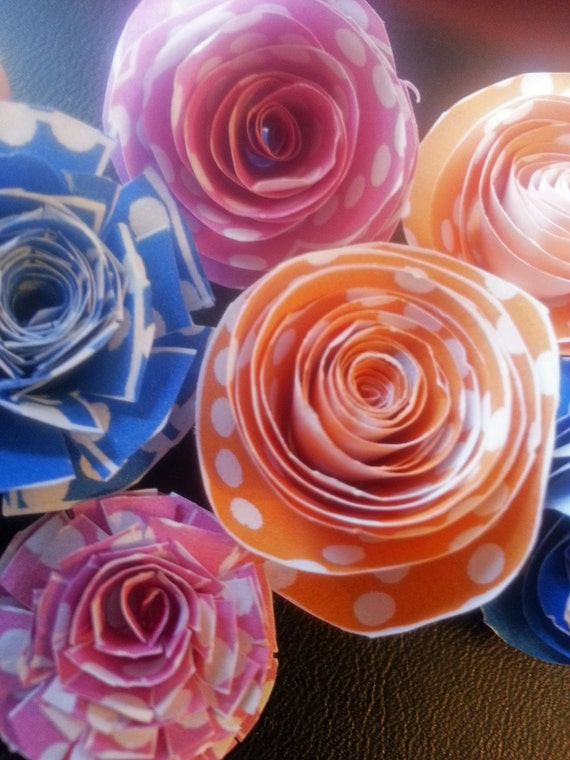 rolled paper roses template - scrapbook digital collage photoshop template rolled paper