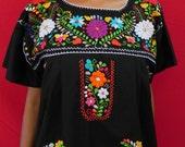Mexican Black Dress Fantastic Handmade Embroidered Elegant Dresses Large