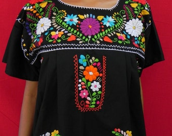 Mexican Black Dress Fantastic Handmade Embroidered Elegant Dresses Large