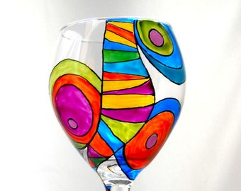 Colorful Glassware Hand Painted Wine Glass Custom Festive Goblet