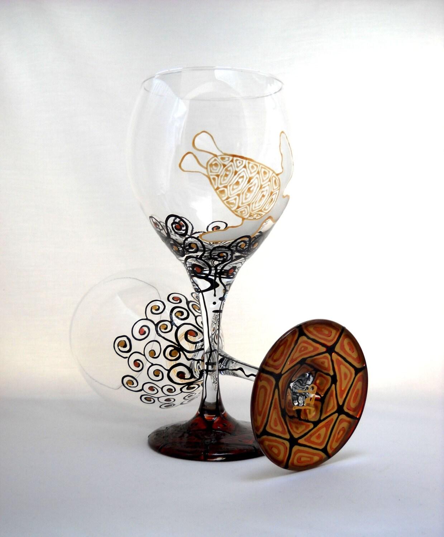 Nautical sea turtle wine glasses hand painted glassware for Hand painted glassware