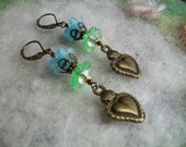 Milagros Earrings,Blue Flowers and  Bronze Sacred Heart