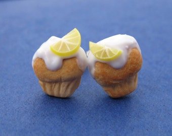 Miniature Food Jewelry Lemon Cupcake Earrings made from Fimo