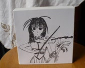 6x6 Print on Canvas Original Artwork Anime Violin Player - Black and White Drawing