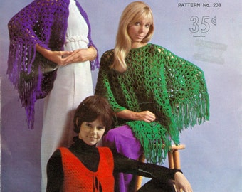 Shawl Fringed Bolero & Poncho Crochet Pattern PDF Instant Download