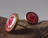 Burning Love Post Earrings - Heart on Fire Kaleidoscope Mandala Boho Burning Man Pyro Raver Hippie Jewelry - Ready to Ship Valentines Day