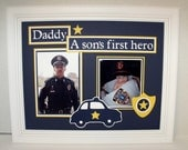 Daddy Father Son Photo Mat - A Son's First Hero Policeman Theme - 11x14 Unframed Insert