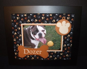 Personalized Pet Frame - Dog Frame - Dog Bone & Paw Print - You Choose the Colors - 8x10 Deluxe Frame