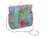 Felted Purse Gift for Her in Green Blue and Pink with Kisslock Frame and Detachable Strap Winter Accessory Christmas Gift Gift for Mom OOAK