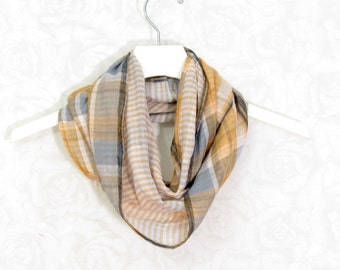 SALE - Plaid Scarf Infinity Scarf Gift for Her Circle Spring Scarf Summer Scarf Lightweight Scarf Womens Scarf Tube Scarf Gift for Mom OOAK