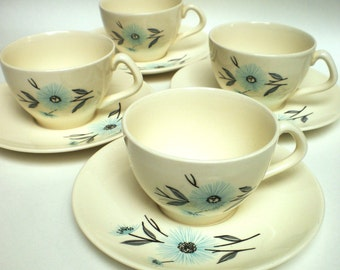 Steubenville Aqua and Grey made in USA 4 Cups and 4 Saucers
