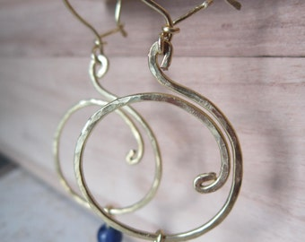 Lapis lazuli and brass dangle hoops hand formed and hand hammered